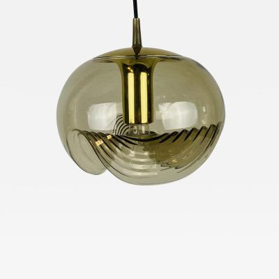 Koch Lowy AMBER GLASS PENDANT LAMP BY KOCH LOWY FOR PEILL AND PUTZLER 1960