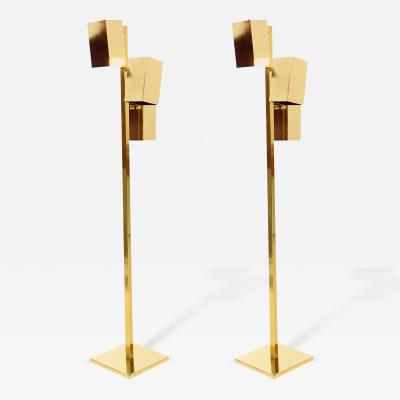Koch Lowy Pair of Brass Koch Lowy Floor Lamps Mid Century