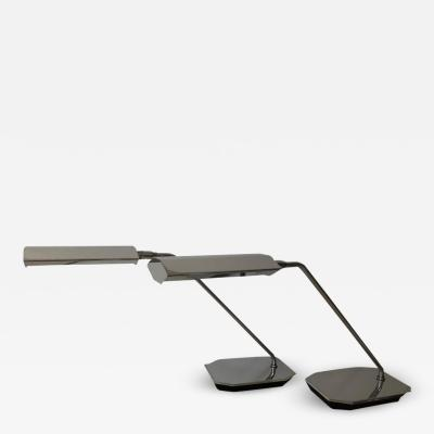 Koch Lowy Pair of Koch Lowy Chrome Swing Arm Adjustable Desk Lamps