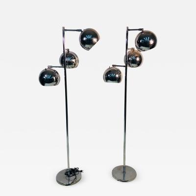 Koch Lowy Pair of Koch Lowy Three Globe Shades Chrome Floor Lamps