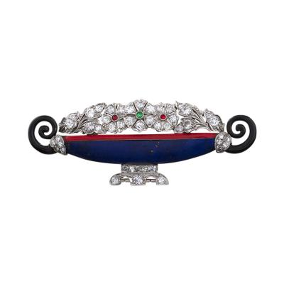 Kohn Kohn Art Deco Jardiniere Jeweled Brooch