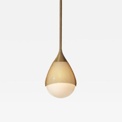 Konekt Armor Pendant Light in Satin Brass with Hand Blown Glass and Chainmail