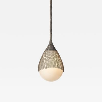 Konekt Armor Pendant Light in Satin Nickel with Hand Blown Glass and Chainmail