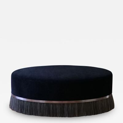 Konekt Oval Thing Ottoman with Brass and Horse Hair
