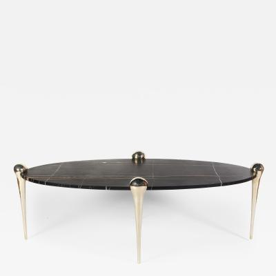 Konekt Petra Coffee Table with Sahara Noir Marble and Bronze