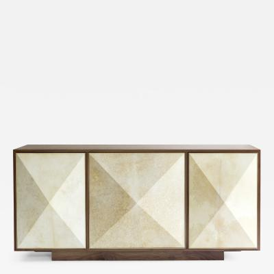 Konekt Pyramid Sideboard with Walnut Parchment and Brass by Konekt