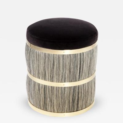 Konekt Thing 2 Horse Hair Brass and Velvet Stool or Pouf