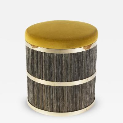 Konekt Thing 2 Stool Pouf with Horse Hair Brass and Velvet
