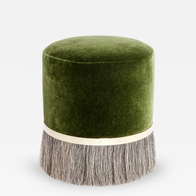 Konekt Thing 3 Horse Hair Brass and Velvet Stool or Pouf