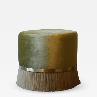 Konekt Thing 3 Horse Hair Brass and Velvet Stool or Pouf