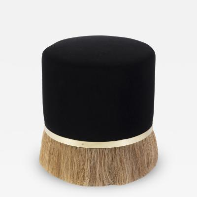 Konekt Thing 3 Stool Pouf with Horsehair Brass and Velvet