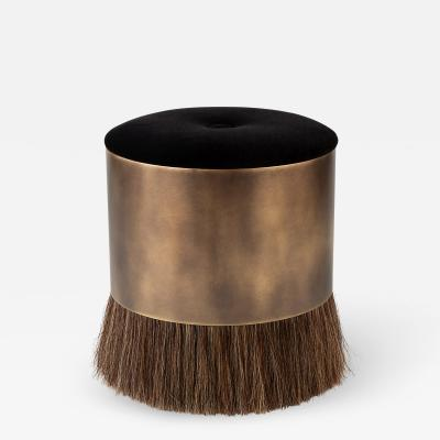 Konekt Thing 4 Stool Pouf Ottoman with Horse Hair and Brass