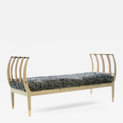Konekt Wood Brass and Gotland Sheepskin Rib Bench