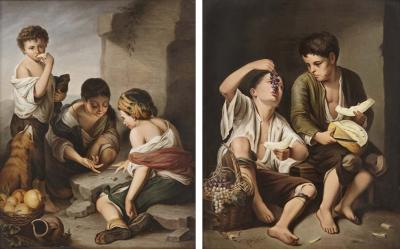 Konigliche Porzellan Manufaktur KPM Two KPM porcelain plaques in giltwood frames after Murillo