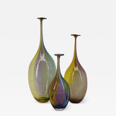 Kosta Boda AB Kosta Boda Kjell Engman Set of 3 Bottle Vases Fidji Crystal