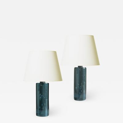 Kosta Boda AB Natty Pair of Sapphire Blue Bubble Glass Table Lamps by Kosta