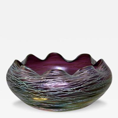 Kralik Glassworks Antique Bohemian Kralik Purple Glass Treaded Bowl Early 20th Century