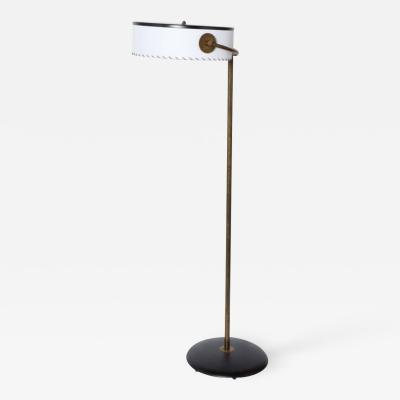 Kurt Versen Kurt Versen Adjustable Bronze Floor Lamp with Whipstitch Parchment Shade 1930s