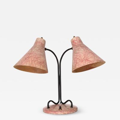 Kurt Versen Kurt Versen Style Black Loop Desk Lamp with Two Pink Fiberglass Shades 1950s