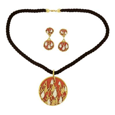 Kutchinsky Coral and Diamond Gold Set