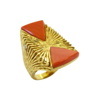 Kutchinsky Kutchinsky Coral and Gold Cocktail Ring London 1972