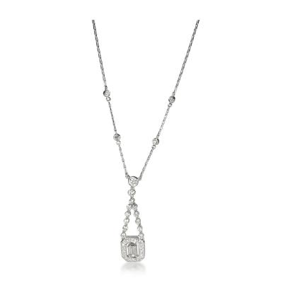 Kwiat Kwiat Halo Diamond Drop Necklace in 18K White Gold 1 11 CTW