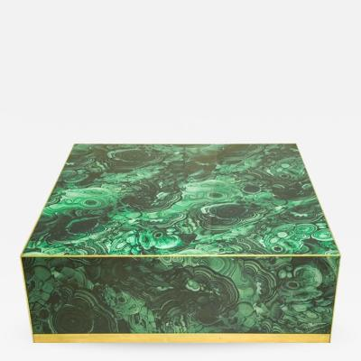 L A Studio In the Style of Mid Century Modern Colored Glass and Brass Italian Center Table
