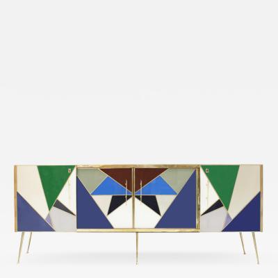 L A Studio L A Studio Colored Glass And Brass Italian Sideboard