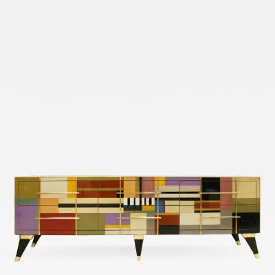 L A Studio L A Studio Mid Century Modern Style Murano Glass and Brass Italian Sideboard