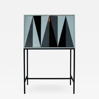 L A Studio L A Studio Modern Solid Wood and Colored Glass Italian Cabinet