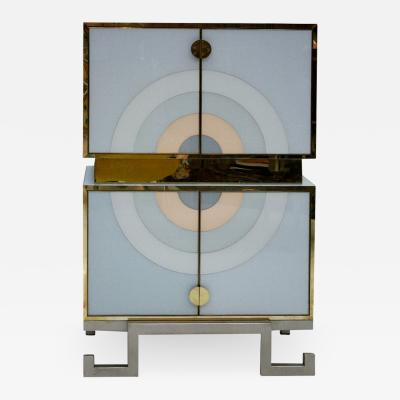 L A Studio L A Studio Modern Solid Wood and Colored Glass Italian Drinks Cabinet