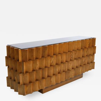 L A Studio L A Studio Oak Wood And Black Lacobel Glass Italian Sideboard