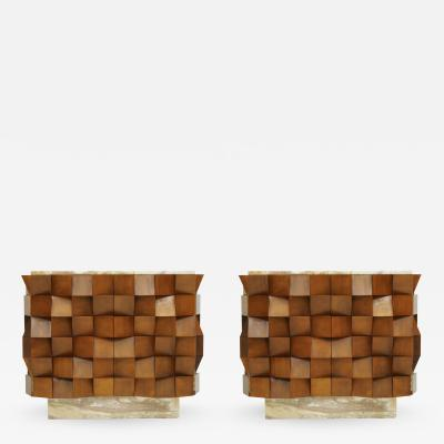 L A Studio L a Studio Pair of Birch Wood and Siena Marble Sideboards Italy