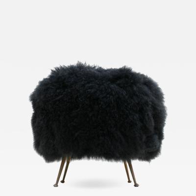 L A Studio Mid Century Modern Mongolian Goat Fur Italian Footstool