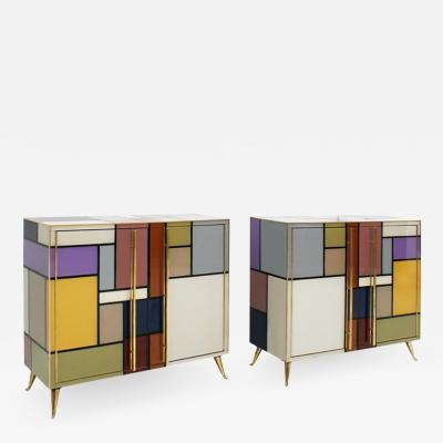 L A Studio Mid Century Modern Solid Wood and Colored Glass Italian Pair of Sideboards
