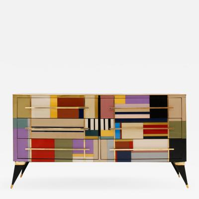 L A Studio Mid Century Modern Style Murano Glass and Brass Italian Sideboard by L A Studio