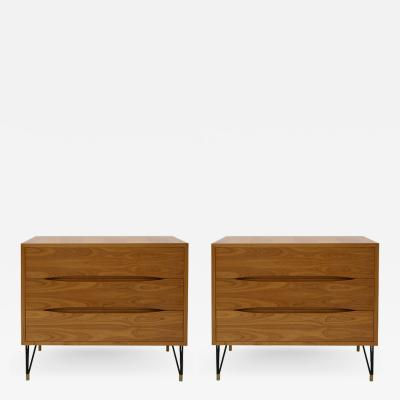 L A Studio Pair of Birch Wood Three Drawers and Brass Details Italian Sideboards