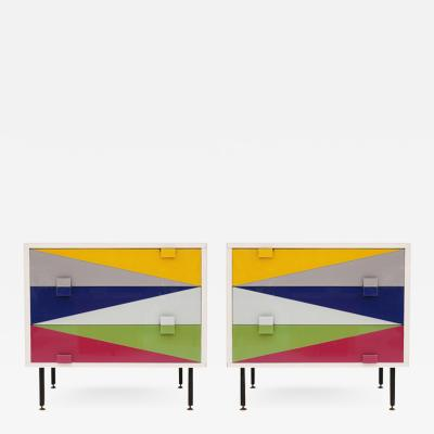 L A Studio Pair of Italian Nightstands Designed by L A Studio