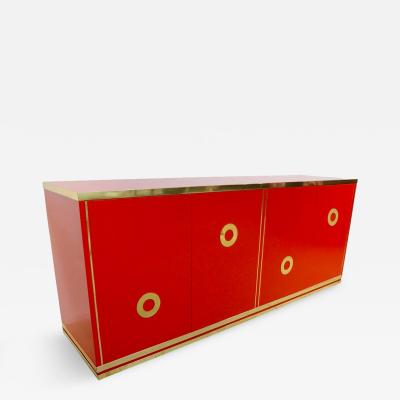 L Angolo Metallarte Italian 1970s Chinese Red Lacquered and Brass Asian Style Sideboard Credenza