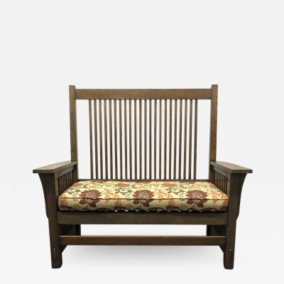 L JG Stickley L and J G Stickley Oak Arts Crafts Mission Bench