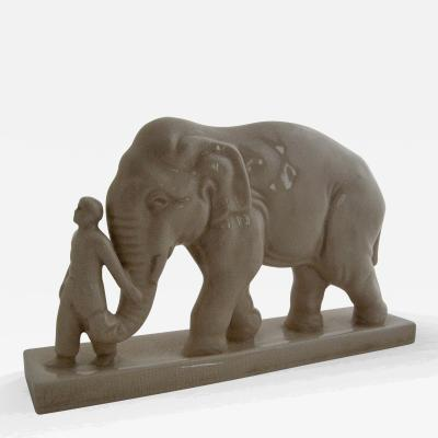 L V Ceram L V Ceram Mahout and Elephant Sculpture 1930s