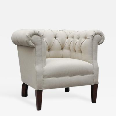 LEE STANTON EDITIONS Alston Tufted Chair with Tapered Legs Upholstered in Belgian Linen or Comparable