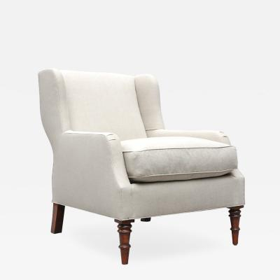 LEE STANTON EDITIONS Selby Upholstered Short Wing Chair in Belgian Linen with Turned Legs