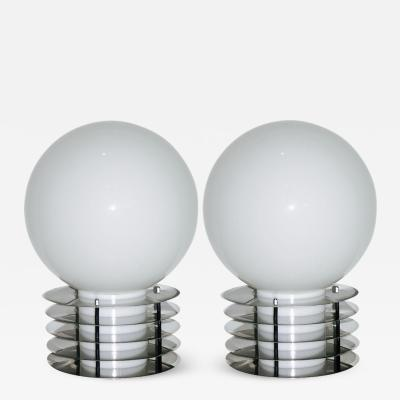 LOM 1960s Italian Pair of Modern Double Lit White Glass and Chrome Round Table Lamps