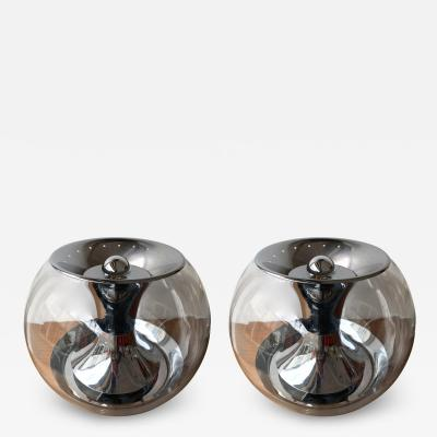LUCI Pair of Ball Lamps Metal and Glass T417 by Luci Italy 1970s