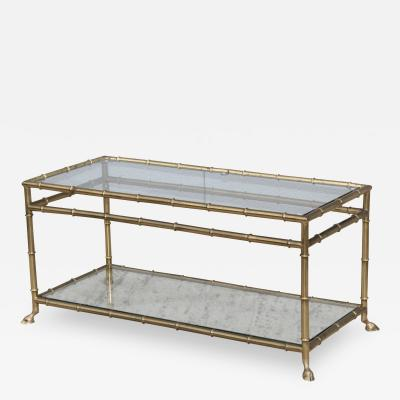 La Barge 1950s Solid Brass Faux Bamboo Italian Coffee Table