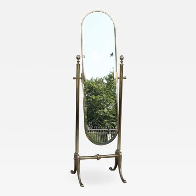 La Barge 1970s Italian Brass Cheval Full Length Mirror