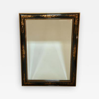 La Barge Chinoiserie Black and Gold Framed Rectangular Wall Mirror