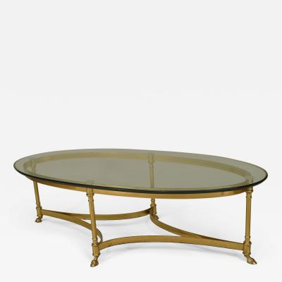 La Barge French Post War Design Oval Brass Coffee Table