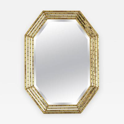 La Barge Gilded Octagonal Faux Bamboo Mirror with Beveled Glass by La Barge